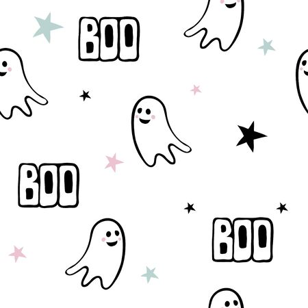 Seamless pattern with cute cartoon ghosts and hand written text. Creative vector background with ghost, boo, halloween. Funny wallpaper for textile, fabric, paper. Picture for children.