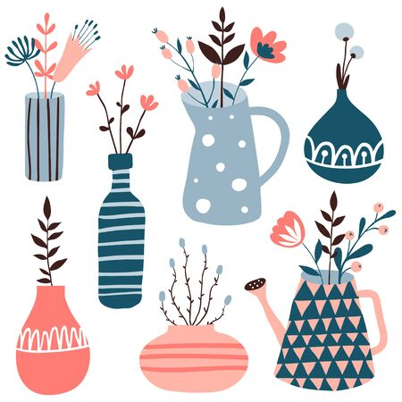 Set with cute flower pots and vases. Doodle floral illustration. Spring collection with cute hand drawn flowers and home plants. Interior, home decor. Vector. Isolated