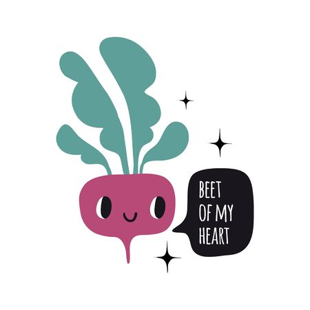 Beet of my heart. Print with funny beetroot. Cute cartoon smile vegetable characters. Colorful design for cards, banners, printed materials. Cute doodle style emoticons.