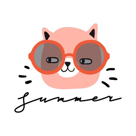 Summer. Funny cat with sun glasses. Design for card, print, poster. Pet vector illustration. Cartoon doodle animals images. Cute kitten with lettering. Hand drawn character  イラスト・ベクター素材