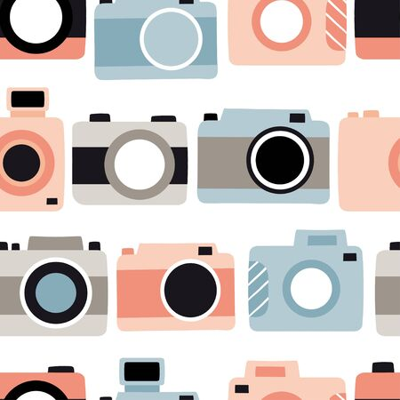 Seamless pattern with cute cameras. Photography vector illustration in cartoon style. Flat style collection, hand drawn graphic.