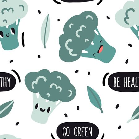 Be healthy, go green. Seamless pattern with broccoli and text. Cute cartoon smile vegetable characters. Colorful texture for kitchen or childish textile, fabric, paper. Doodle style emoticons  イラスト・ベクター素材