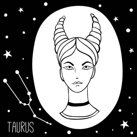 Taurus. Woman with zodiac sign. Stars, astrological, constellation, beauty, female. Hand drawn vector illustration of the girl. Sketch style, black and white 写真素材 - 133371088