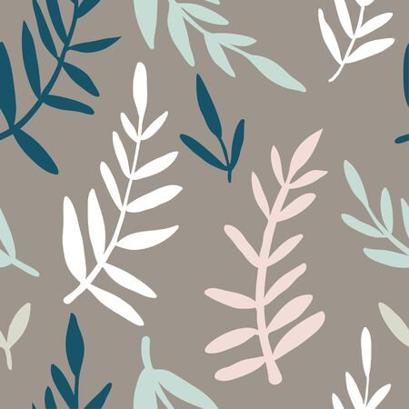 Trendy creative seamless pattern with hand drawn abstract colorful leaves. For printing for modern and original textile, wrapping paper, wall art design