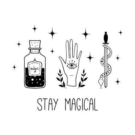 Stay magical. Vector witch magic design print with text. Hand drawn, doodle, sketch magician illustration. Witchcraft symbols: potion, eyes, knife. Perfect for tattoo, textile, cards, mystery
