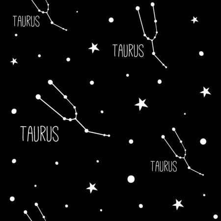 Taurus. Seamless pattern with zodiac sign. Night sky with stars and constellations. Hand drawn astrological vector background.