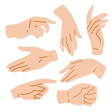Hands set on white background, vector illustration. Hand drawn cartoon illustration for your design. Human palms, wrists, gestures. Simple flat styl, sketch collection for cosmetics, cosmetology