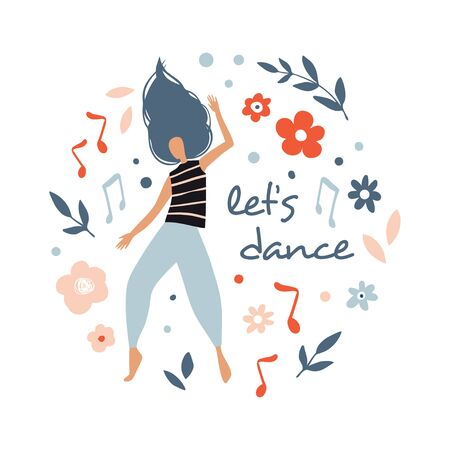 Funny dancing girl. Poster, card for party. Colorful happy people characters. Cute vector Illustration in flat cartoon style. Female dancer with flowers isolated on white  イラスト・ベクター素材