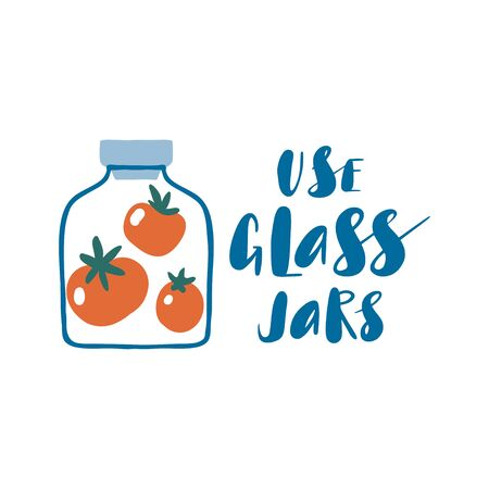 Use glass jars. Zero waste concept. Cute hand drawn eco life illustration. Flat vector card or poster. Set of doodle reusable product. Abstract preserved food. Go green, no plastic, save the planet. Illusztráció