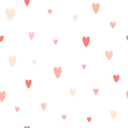 Hand drawn seamless pattern with hearts. Cute romantic background for wrapping paper, Valentine day decor or wedding design. Doodle vector texture about love 写真素材 - 133371170