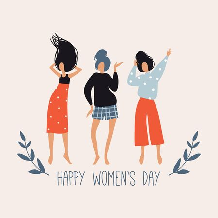 Happy Womens Day. Vector template with cute dancing girls, leaves and flowers. Spring greeting card, poster design for International Womens Day 8 March holiday. Flat hand drawn doodle illustration
