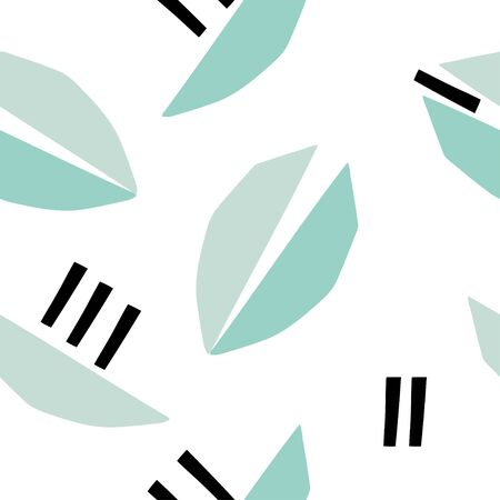 Seamless pattern with abstract leave shapes. Trendy modern background