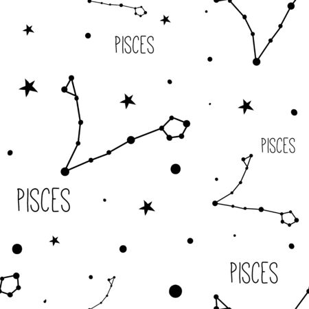 Pisces. Seamless pattern with zodiac sign, stars and constellations. Illustration