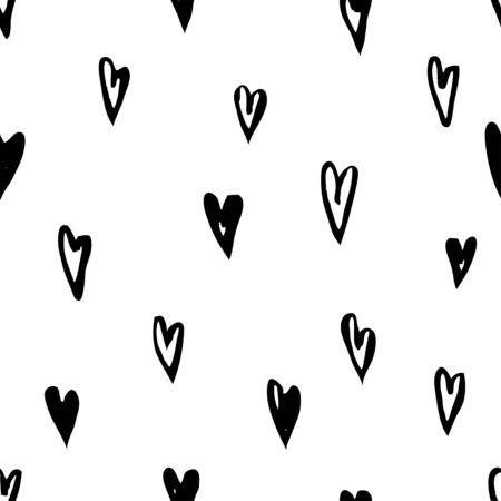 Ink grunge seamless pattern. Hand drawn texture design for textile, fabric. Vector. Black on white abstract background with brush strokes  イラスト・ベクター素材
