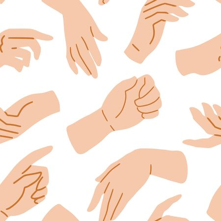 Hands on white seamless pattern, vector illustration. Hand drawn texture with human palms, wrists, gestures. Simple flat style, sketch background for fabric, textile, paper