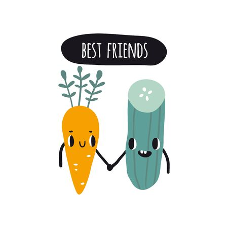 Best friends. Print with carrot and cucumber. Cute cartoon smile fruits characters. Colorful design for cards, banners, printed materials. Cute doodle style emoticons.  イラスト・ベクター素材