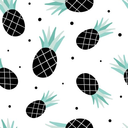 Seamless pattern with pineapples. Juicy tropic fruits and black dots on white background. Vector hand drawn summer vector background for modern textile, fabric, paper. Vegetarian healthy food