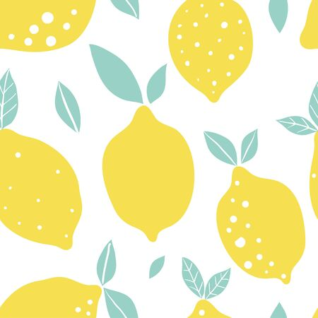 Abstract lemon vector seamless pattern. Endless texture for wallpaper, kitchen textile, fabric, paper. Flat fruits on white. Tropical exotic raw food, vegetarian  イラスト・ベクター素材
