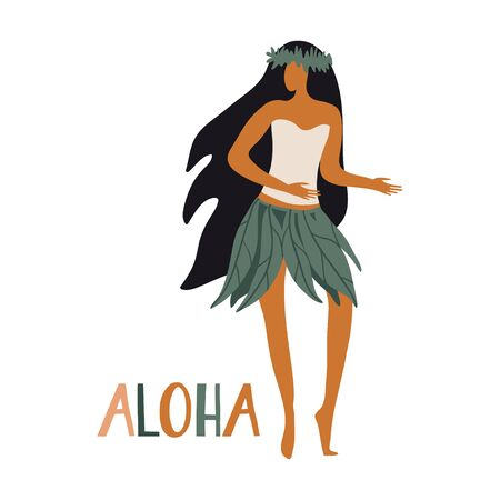Hawaiian girl is dancing hula in traditional clothes. Aloha text. Cute card print or poster for Hawaiian holidays. Vector illustration. Funny character, flat cartoon style summer design with lettering Vettoriali