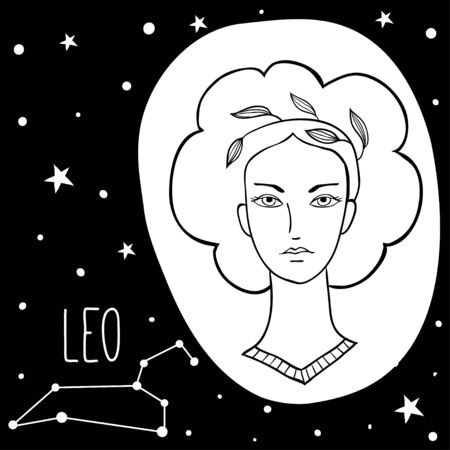 Leo. Woman with astrology sign. Stars, astrological, constellation, beauty, female. Hand drawn vector illustration of the girl. Sketch style, black and white