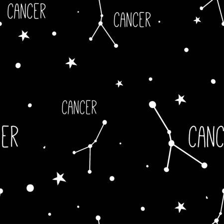 Cancer. Seamless pattern with astrology sign. Night sky with stars and constellations. Hand drawn astrological vector background.  イラスト・ベクター素材