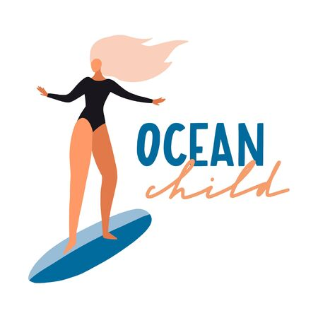 Surfer girl on boards catching waves in the sea. Cute cartoon flat people in vector. Beach summer travel lifestyle illustration for card, print or poster. Sport fitness concept. Young woman characters