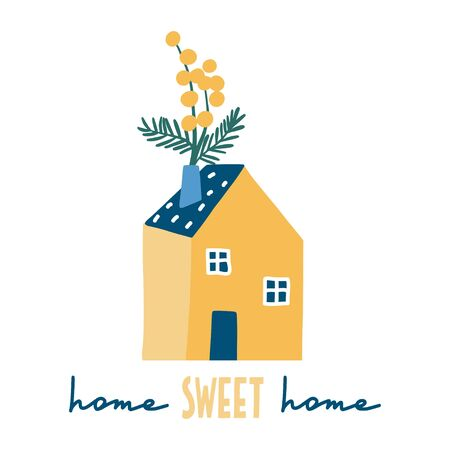 Home sweet home. Decorative colorful house with flowers: cute hand drawn card, print or poster. Simple modern flat style buildings with hand written text. Floral art for children with lettering.