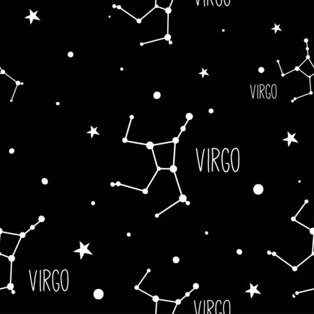 Virgo. Seamless pattern with astrology sign. Night sky with stars and constellations. Hand drawn astrological vector background.