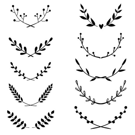 Vector collection of hand drawn borders in sketch style. Floral and abstract dividers for your design. Doodle design elements  イラスト・ベクター素材