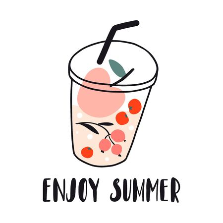 Enjoy summer. Fruits and berries fresh cold beverage, juice, cocktail, lemonade. Smoothie to go. Hand drawn concept for menu, card, banner. Cute flat vector illustration. Detox, diet, healthy food