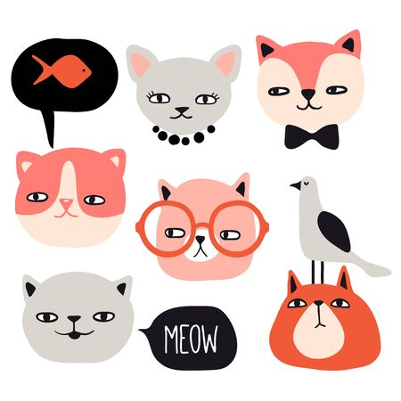 Funny cats collection. Pet vector illustration. Cartoon doodle animals images. Cute kitten design for girls, kids. Hand drawn characters