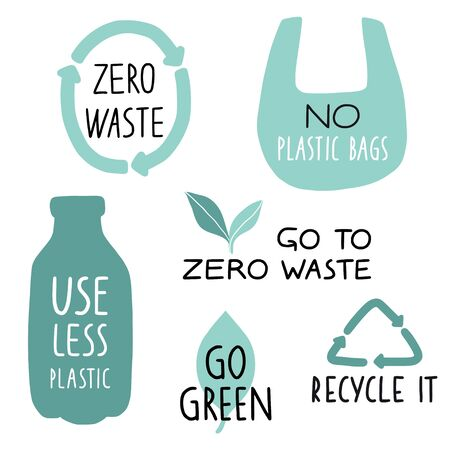 Set of Eco illustration elements and handwritten letters. Recycle it, use less plastic, go green. Zero waste life slogan, typography. Vector illustration.  イラスト・ベクター素材