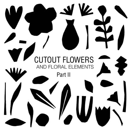 Cutout flowers and floral elements set. Black on white. Scandinavian geometric abstract plant silhouettes. Minimalistic simple collection
