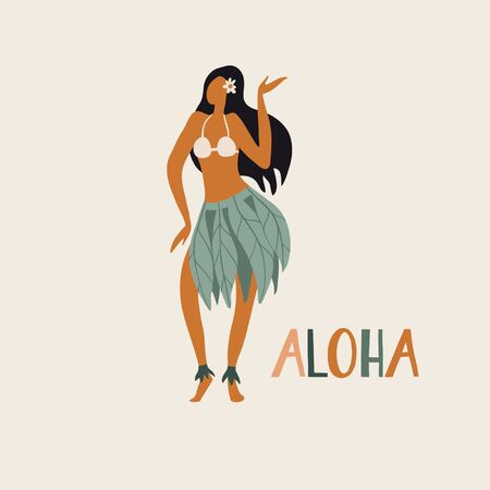 Hawaiian girl is dancing hula in traditional clothes. Aloha text. Cute card print or poster for Hawaiian holidays. Vector illustration. Funny character, flat cartoon style summer design with lettering  イラスト・ベクター素材
