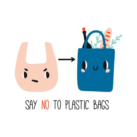 Say no to plastic bags. Cute zero waste poster, print or card. Hand drawn eco life illustration. Flat vector illustration. Doodle reusable textile shopping bag. Go green, no plastic, save the planet.