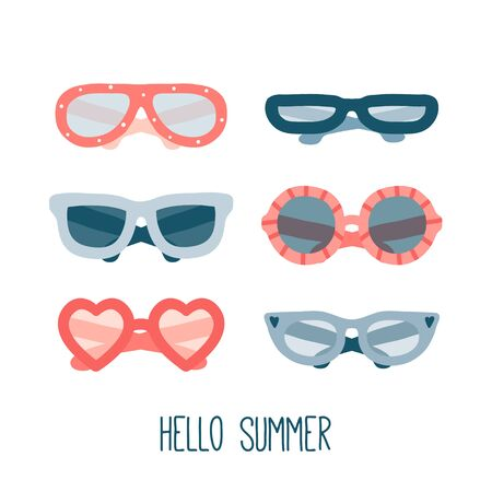 Colorful summer glasses set. Flat vector fashion illustration. Collection of different hand drawn glasses types hipster, retro, vintage, modern, classic. Cute illustration with accessories