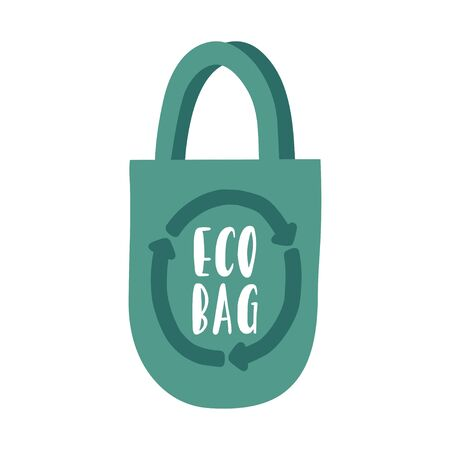 Eco bag. Cute zero waste poster, print icon. Hand drawn eco life illustration. Flat vector illustration. Doodle reusable textile shopping bag. Go green, no plastic, save the planet.
