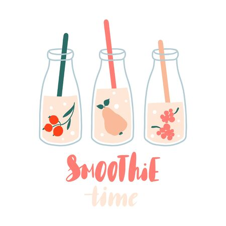 Smoothie time. Set of smoothies or fresh juice in jars with fruits. Collection of hand drawn glass bottles with summer cocktails. Concept for healthy food menu bar.