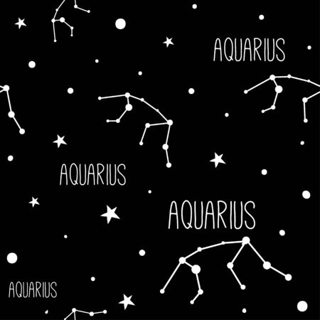 Aquarius. Seamless pattern with astrology sign. Night sky with stars and constellations. Hand drawn astrological vector background.
