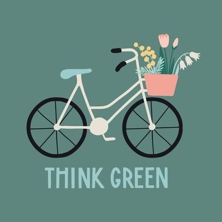 Think green. Eco life concept about environment and ecology. Floral illustration with bicycle, basket with flowers and handwritten letters. Zero waste life slogan, typography. Vector  イラスト・ベクター素材