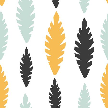 Simple colorful seamless pattern with hand drawn abstract leaves. For printing for modern and original textile, wrapping paper, wall art design
