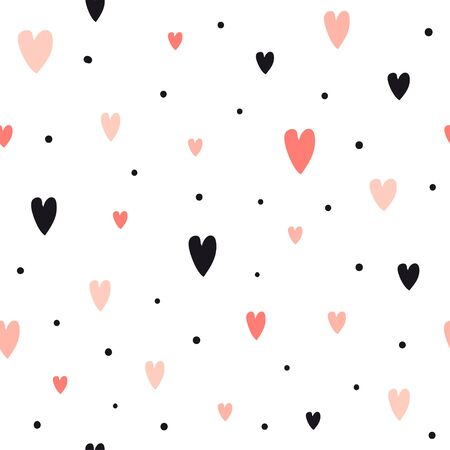 Hand drawn seamless pattern with hearts. Cute romantic background for wrapping paper, Valentine day decor or wedding design. Doodle vector texture about love