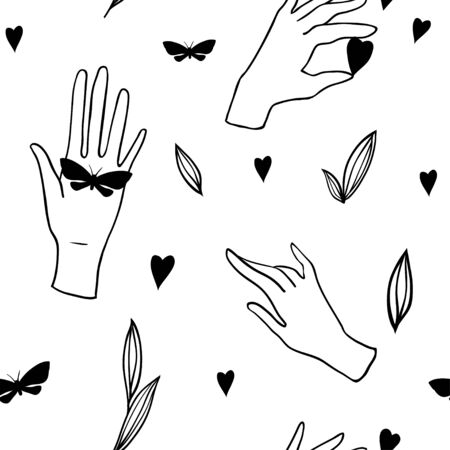 Seamless pattern with hands on white background. Vector illustration. Hand drawn cartoon illustration for your design.