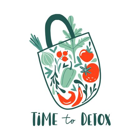 Time to detox. Eco shopping bag with summer vegetables: onion, pepper, tomato. Healthy organic fresh and natural vegan food concept, grocery delivery. Flat hand drawn design for banner, card, poster  イラスト・ベクター素材
