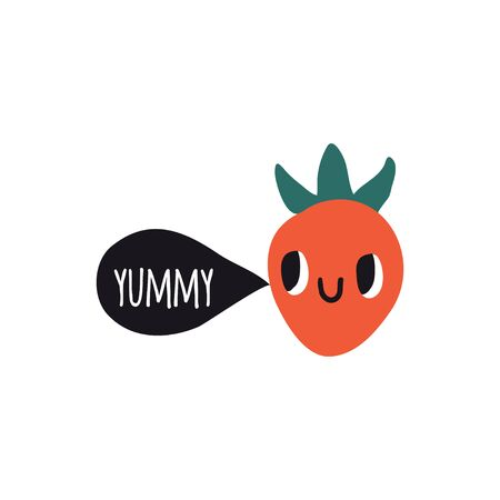 Yummy. Print with strawberry. Cute cartoon smile berry characters. Colorful design for cards, banners, printed materials. Cute doodle style emoticons.  イラスト・ベクター素材