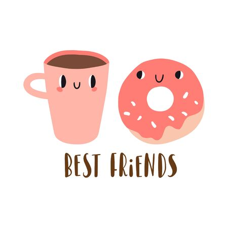 Best friends: cartoon donut and cup of coffee. Funny breakfast characters. Card, print or poster template. Set with cute food and drink icons in kawaii style with smiling face. Food vector collection