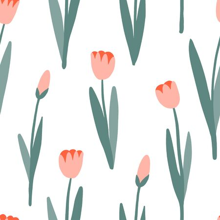 Flower simple seamless pattern, spring or summer graphic design for paper, textile print, page fill. Floral background. Hand drawn tulips. Modern and original textile, wrapping paper, wall art design  イラスト・ベクター素材