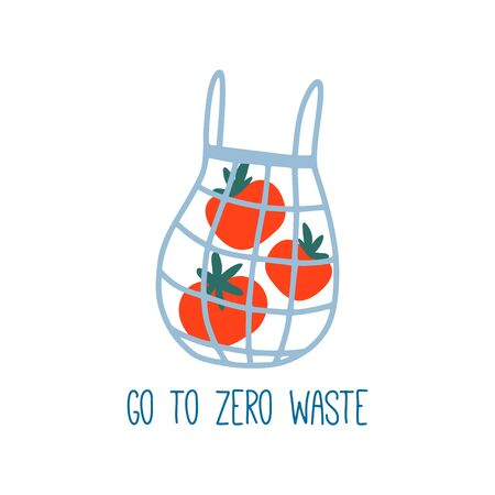 Go te zero waste. Cute zero waste poster, print or card. Hand drawn eco life illustration. Flat vector illustration. Doodle reusable textile shopping bag. Go green, no plastic, save the planet.
