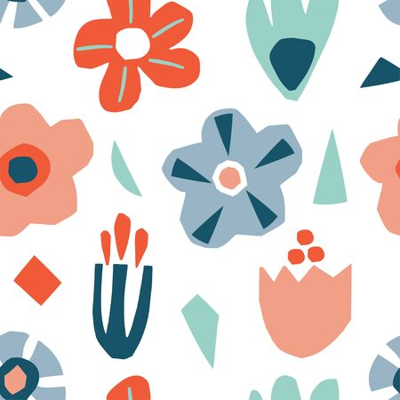 Seamless pattern with abstract cutout flowers and leaves. Modern and original textile, wrapping paper, wall art design. Vector illustration
