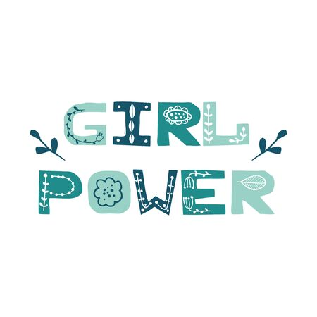 Girl Power. Vector print design. Vector cartoon trendy poster. Paper cut letters with floral doodles. Cutout letters